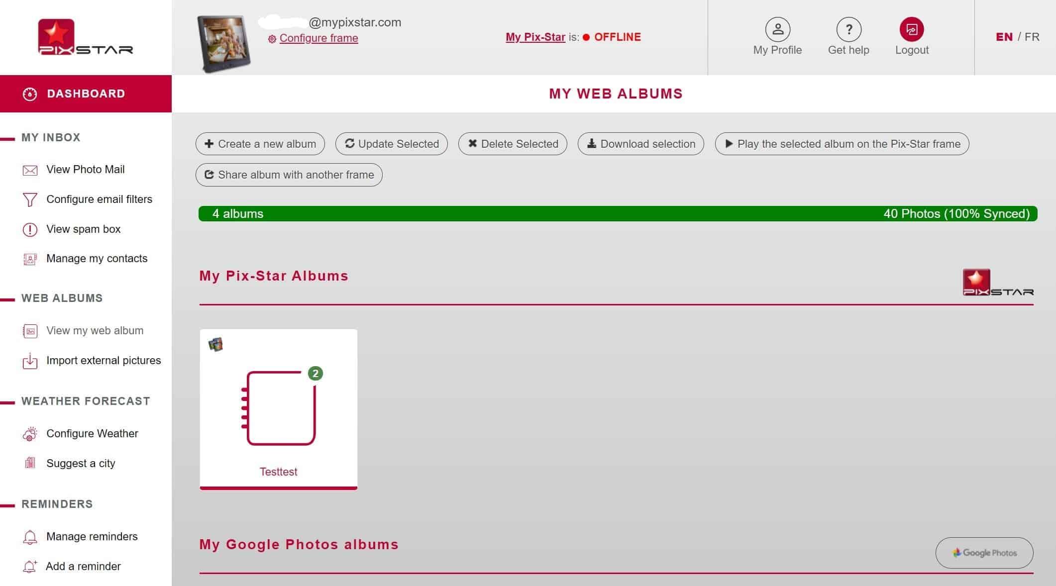 Pix-Star dashboard web album view