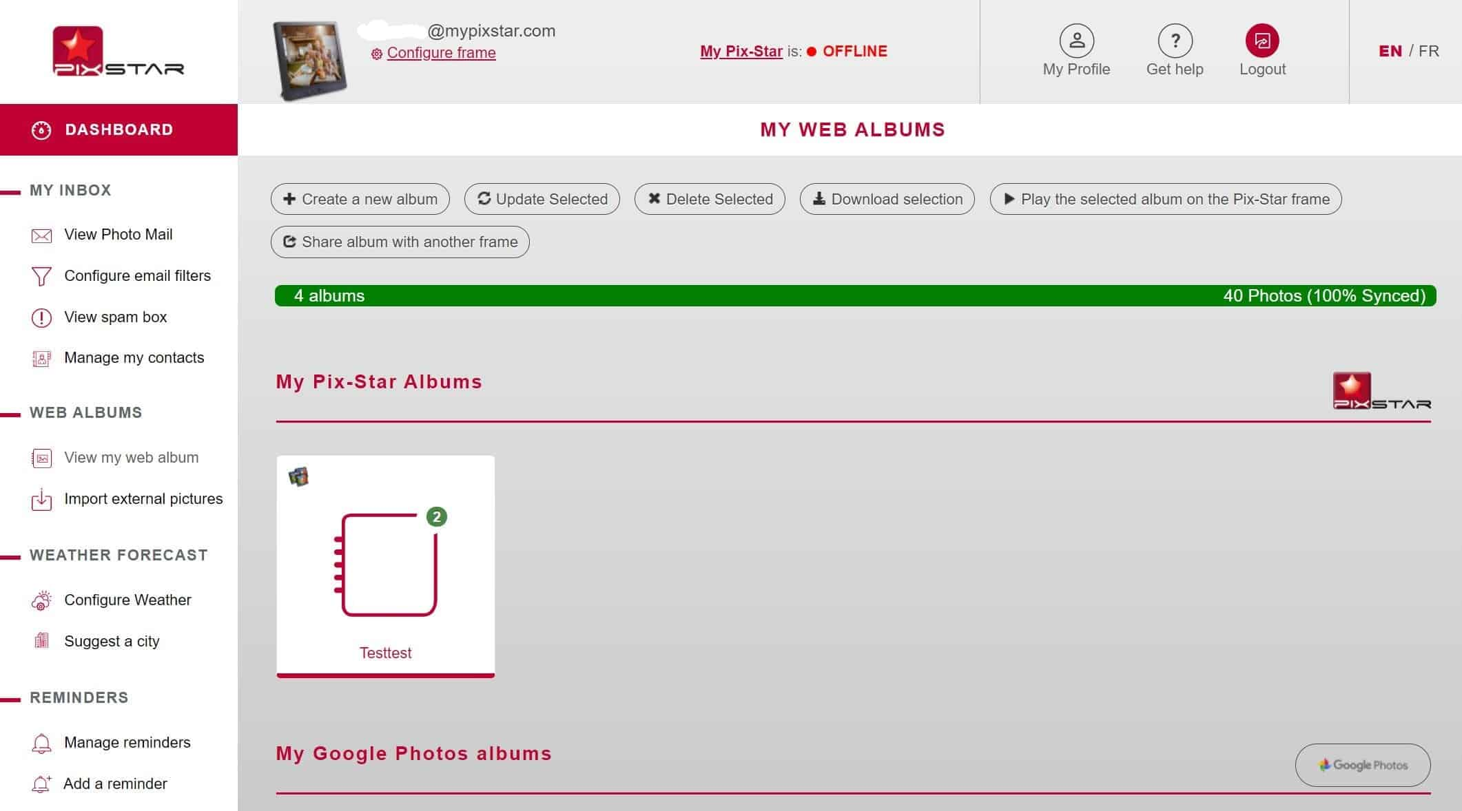 Vista del álbum web del tablero Pix-Star