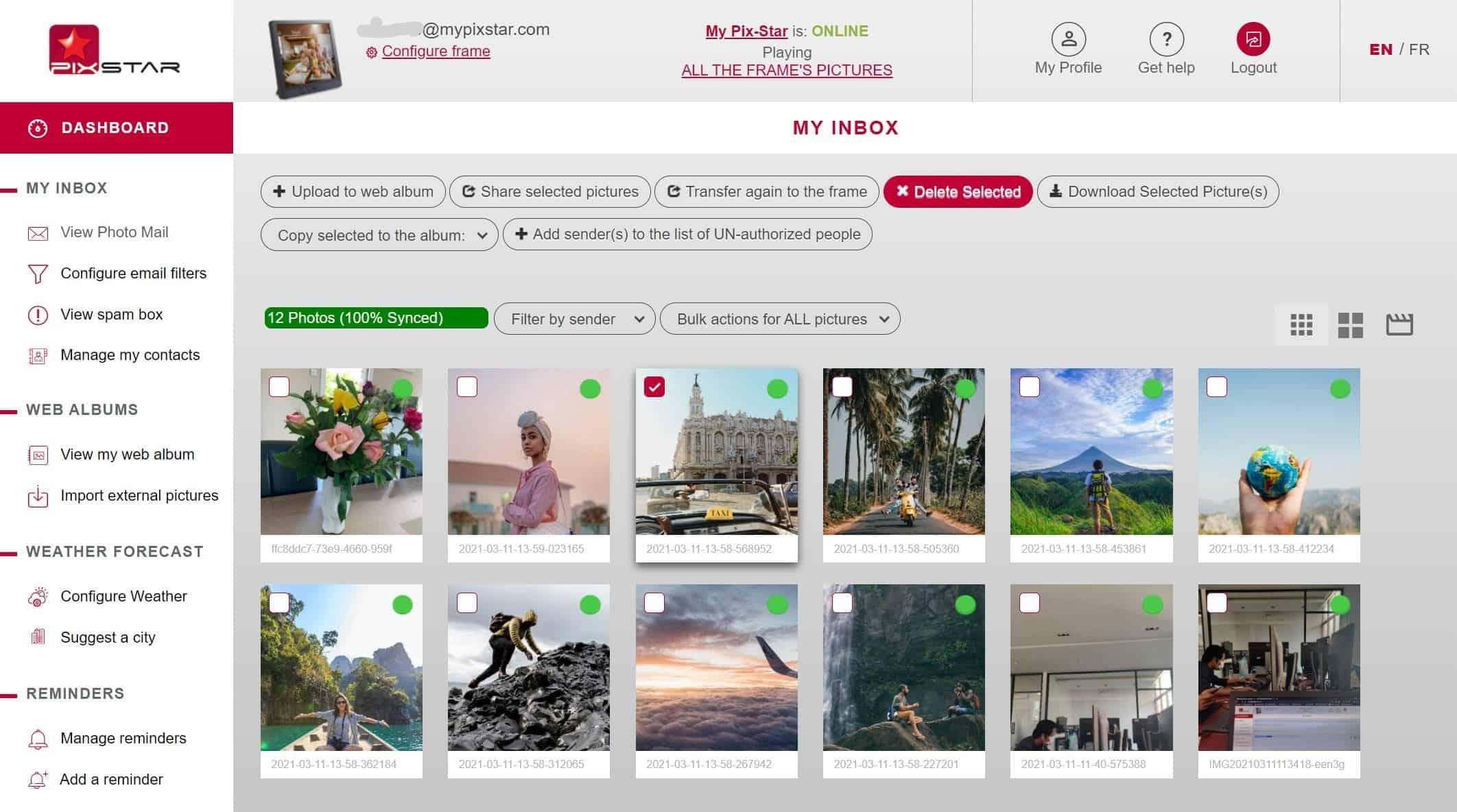 Pix-Star visualizza foto-mail cancella foto