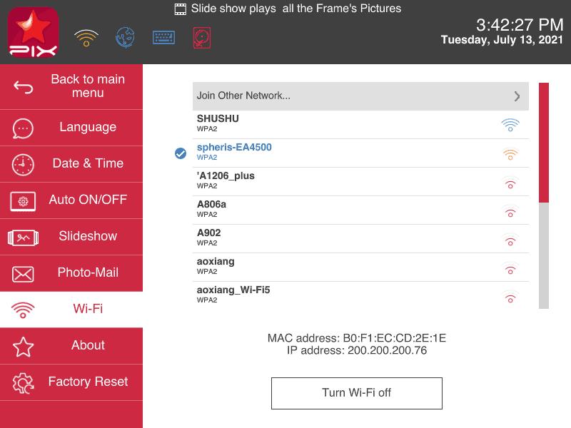 Pix-Star digital frame connect to Wi-Fi